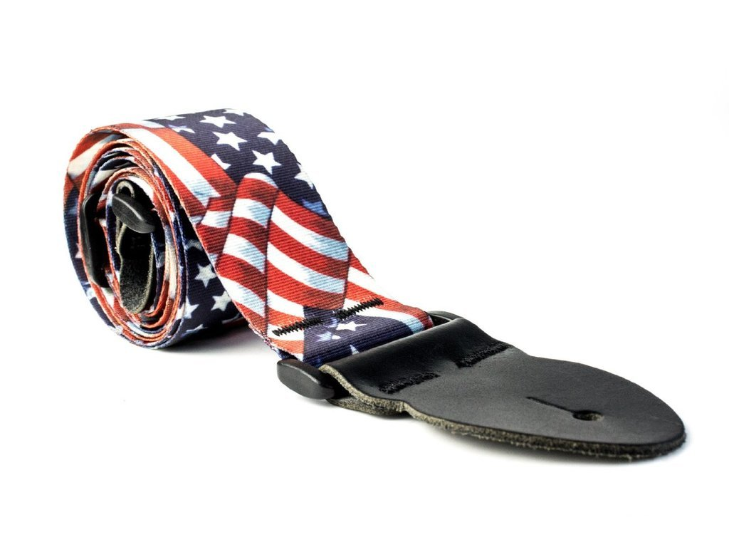 LeatherGraft USA American Stars and Stripes Printed Flag Country National Design Guitar Strap