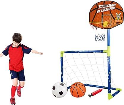 iVansa 2 en 1 Juego de Balón de Fútbol y Baloncesto para Niños, Incluye 2 Bolas, 102×72×36cm: Amazon.es: Juguetes y juegos