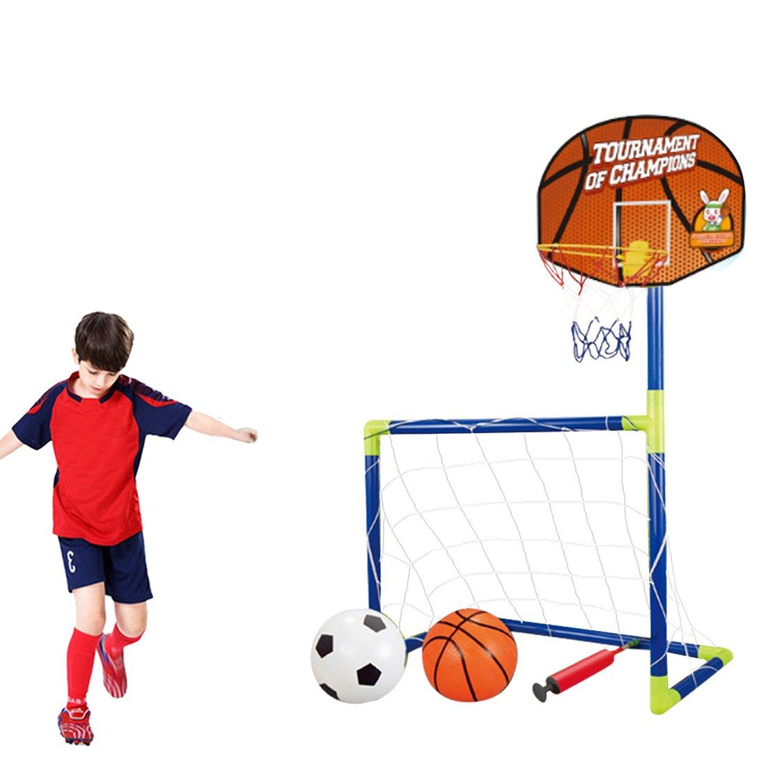 8f4c1d11d2f00 Lommer Enfant But de Foot et Panier de Basket 2 Fonction Mini Cage de Foot  But de Football Goal avec Balles pour Enfants Intérieur Extérieur   Amazon.fr  ...