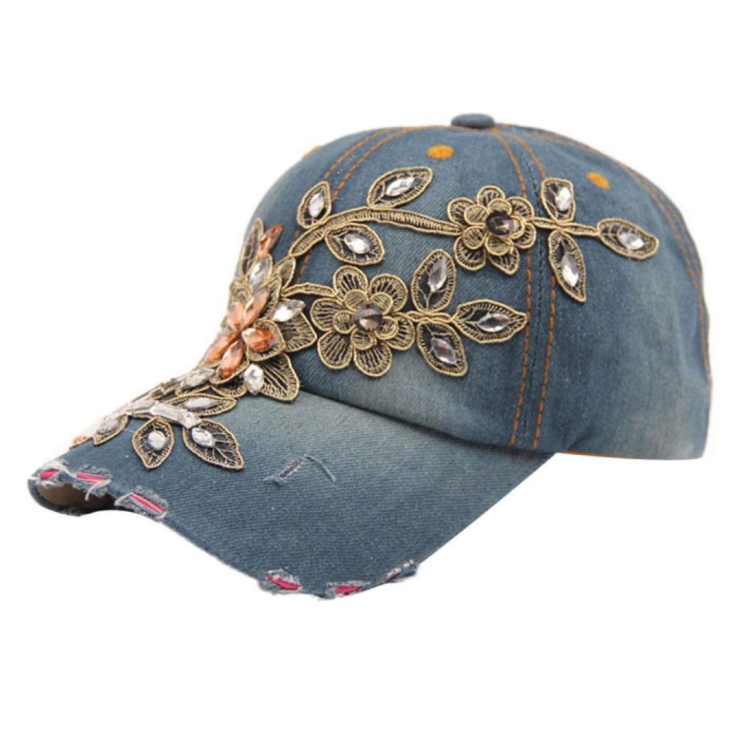 Frauen Denim Hut DDLBiz® Frauen Diamant-Blumen-Baseball-Mütze Summer Style Lady Jeans Mützen AB-12