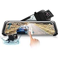 Dashcam Mirror con telecamera per retrovisione AHD 9.35 '' Full Touch Screen Dual Lens Telecamera 1080P per automobile Obiettivo grandangolare 140 °, Visore notturno, Rilevamento movimento, G-sensor
