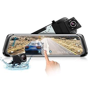 zeepin Dashcam Espejo con Cámara de Visión Trasera, Pantalla Táctil 1080P, Cámara para Automóvil