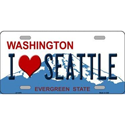 Seattle Silhouette Novelty Metal License Plate