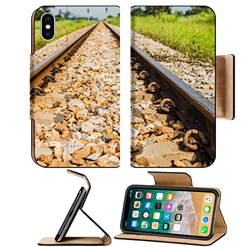 Liili Premium Apple iPhone X Flip Pu Leather Wallet Case Vintage railway with ballast and rail sleepers in countryside 27906967 (Railway Sleeper)