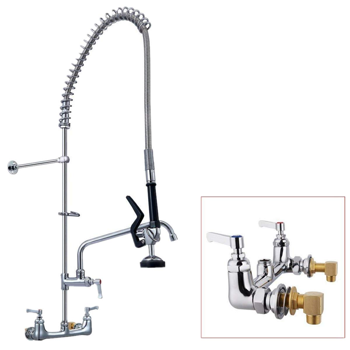 "YG Pre-rinse Kitchen Sink Faucet Spray 8""(203mm) Center Wall Mounted Type Heavy Duty Construction 20""(510mm) Riser Brass Pipe 44""(1118mm)Flexible Stainless Steel Hose Color Chrome YG-5803b"