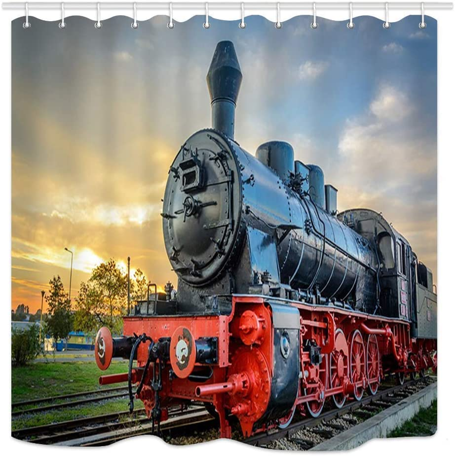 AshasdS Steam Train Decor Collection,Old Engine Train Design Polyester  Waterproof Fabric with 10 Rust Proof Hooks,10 X 10 Inches