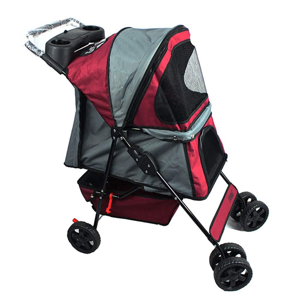 GWM Puppy Cat Pet Travel Stroller Pet Trolley Pushchair Rear Brakes Maximum Load 15kg