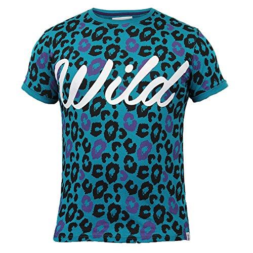 Herren T-shirt Soul Star Wild Aufdruck Rundhalsausschnitt Kurze Ärmel Top Sommer Freizeit Neu - Türkis - MTWILD, Herren, XL