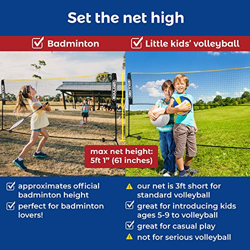 Boulder Portable Badminton Net Set - 10-FT Mini Net for Tennis, Soccer Tennis, Pickleball, Kids Volleyball - Easy Setup Nylon Sports Net with Poles - for Indoor or Outdoor Court, Beach, Driveway by Boulder (Image #1)