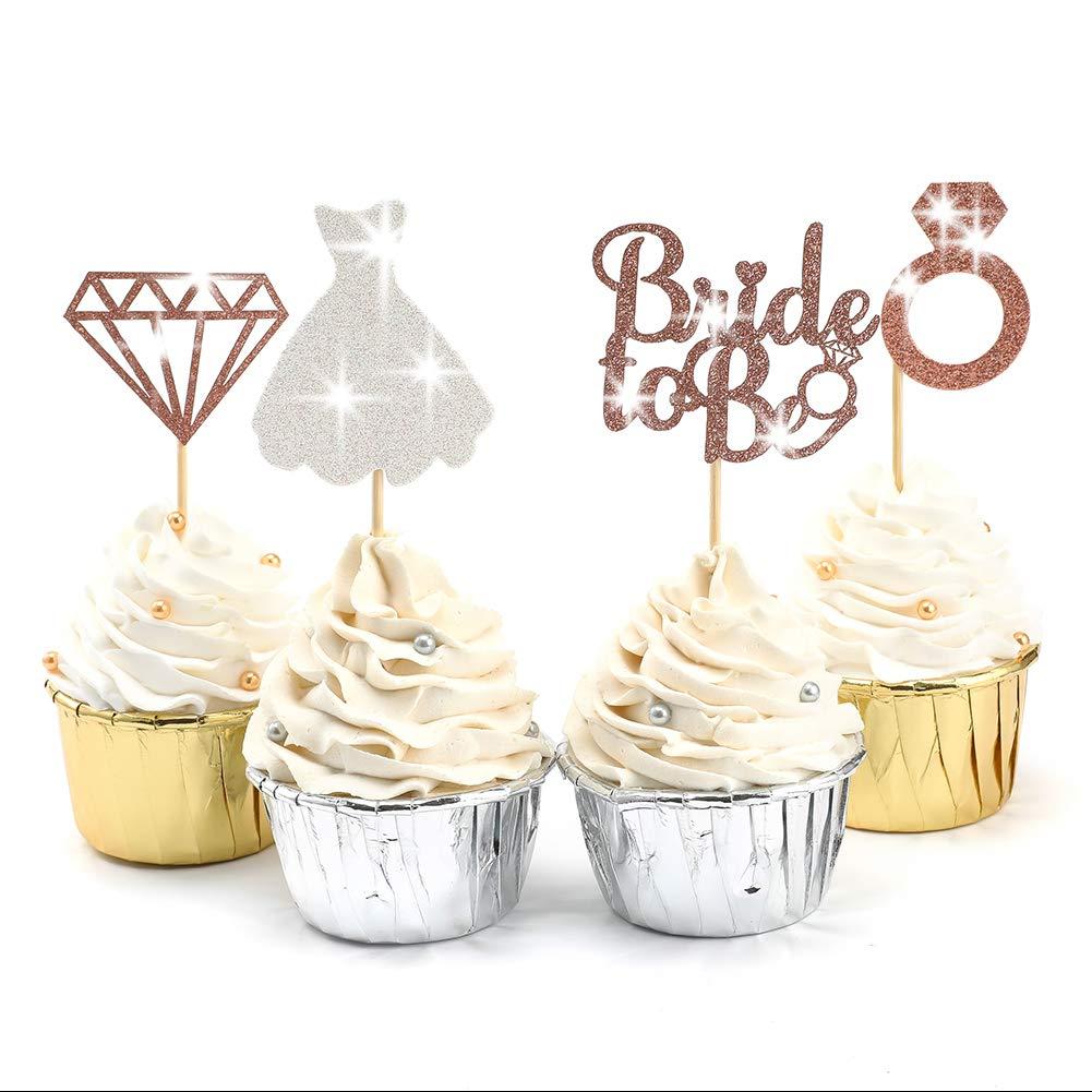 Hen Party Bridal shower Wedding Engagement Party Decoration 12 pcs or 24 pcs Diamond ring Cupcake Toppers  Bachelorette Party