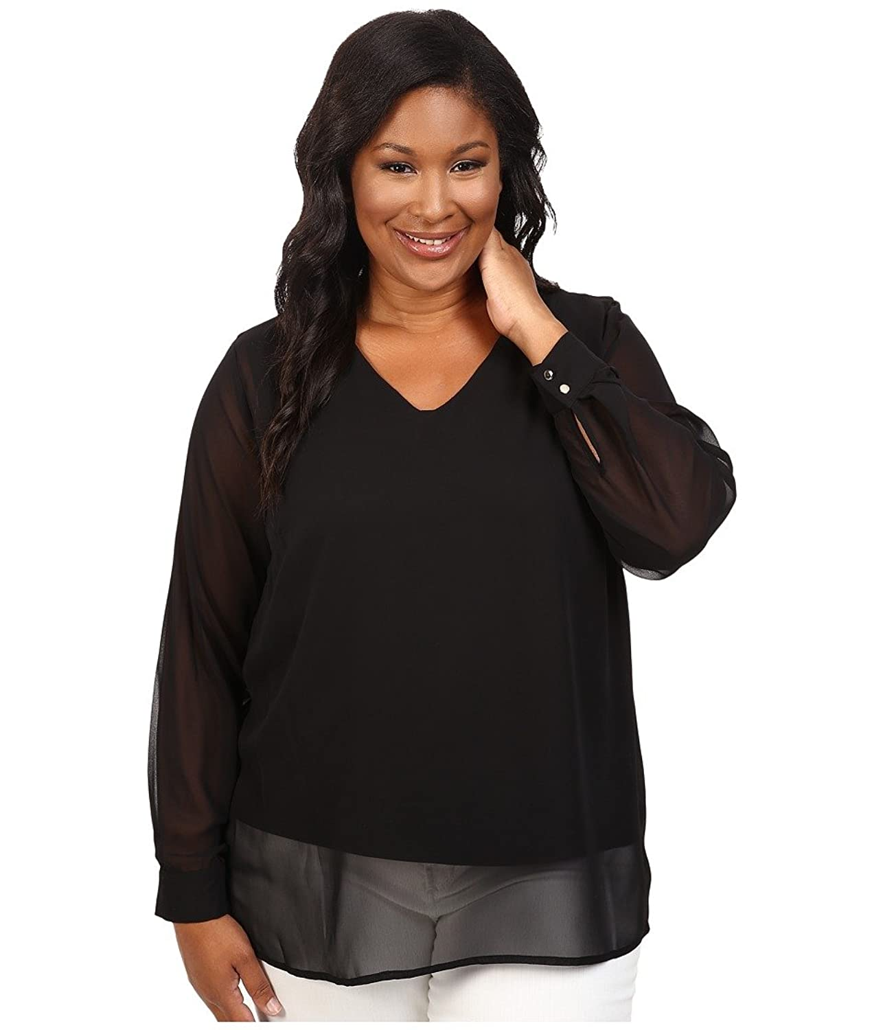 Vince Camuto Plus Women's Plus Size Long Sleeve Shirttail V-Neck Blouse with Knit Underlay