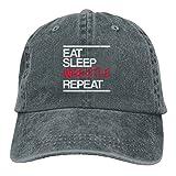 Arsmt Eat Sleep USA Wrestling Denim Hat Adjustable Womens Curved Baseball Cap