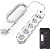 Intelligent stekkerdoos wifi-stopcontact, 4 stopcontacten, 3 USB, spraakbediening, app-besturing en timerfunctie…