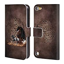 Official Brigid Ashwood Horse Celtic Wisdom Leather Book Wallet Case Cover For iPod Touch 5th Gen / 6th Gen