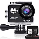 """ieGeek Wifi 2.0"""" inch 1080P Full HD Sport Action Camera with Waterproof Case 170° Wide Angle Lens 12MP Outdoor Camcorder with Accessories Kits For Bike Motorcycle Surfing Diving Swimming Skiing Climbing etc, Black"""