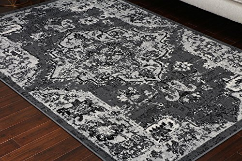 - Generations 100% Olefin Grey Silver White Oriental Traditional Antique Isfahan Persian Area Rugs Rug 8059grey 5'2 x 7'3