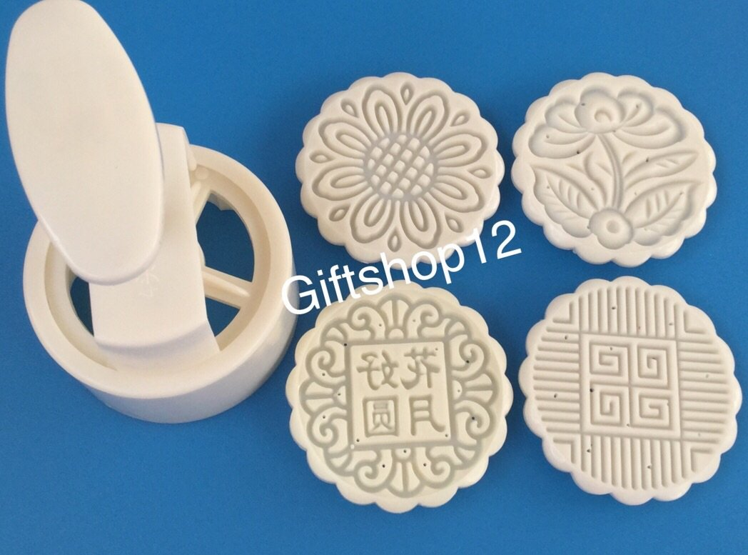 Giftshop12 Mooncake Mold Traditional White Round Cookie Cutter Mold 125g
