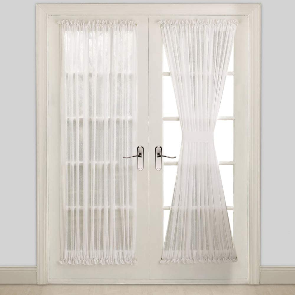 WARM HOME DESIGNS Pair of Sheer White French Door Curtains in 40
