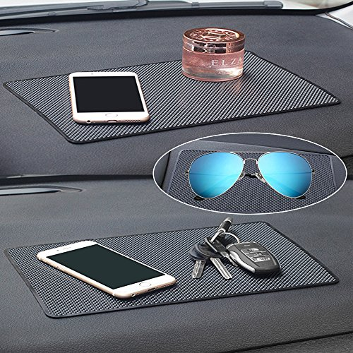 Car Dashboard Anti-Slip Mat, DaKuan 4 Packs 10.5'' x 5.7'' and 8'' x 5.1'' Sticky Non-Slip Dashboard Gel Latex Pad for Cell Phone, Sunglasses, Keys, Coins by DaKuan (Image #1)