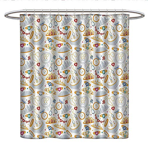 Anniutwo Pearls Decor Collectionhookless Shower curtainPattern with Jewelry Accessories Diamond Rings Tiara Earring Necklace Stones ImageColor Shower curtainWhite ()