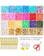 Clay Beads for Jewelry Making, Dyroubo 4800pcs 6mm Flat Round Clay Beads DIY Bracelets Marking Craft Kit with Letter Beads, Shell Beads, Gold Beads, Pendants & Jump Rings, 18 Colors