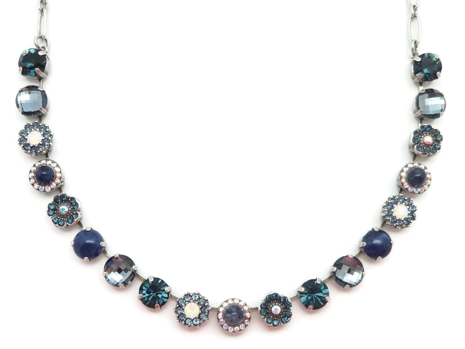 Mariana Swarovski Crystal Silver Plated Necklace Blue White Mosaic Mix M1069 Mood Indigo
