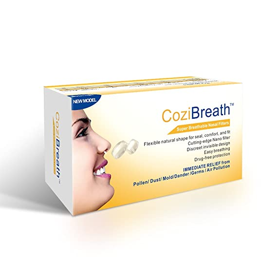 Cozibreath Serie Anti alergia Nariz Filtros Máscara Reducen Las Partículas de Contaminación Aérea, Polen, Polvo, Moho, Alérgenos de la Caspa, para el Alivio ...