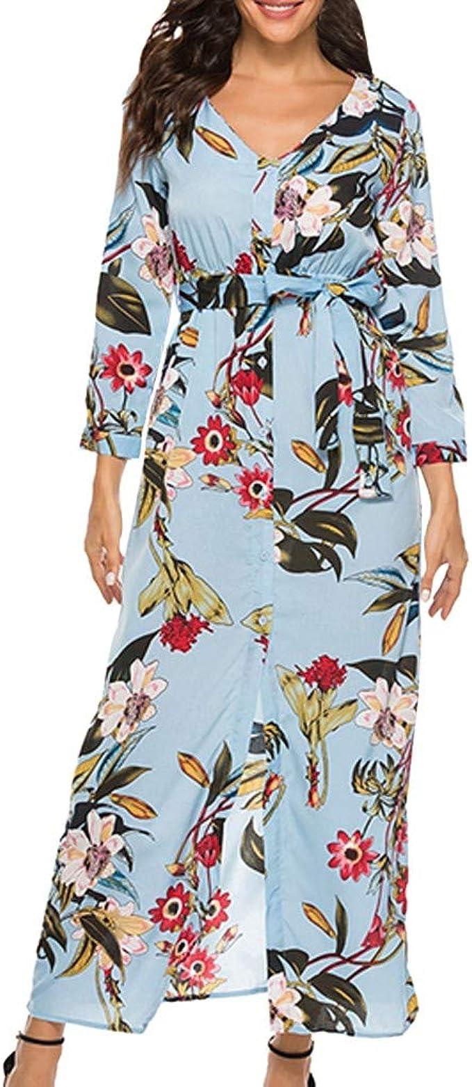 Wawer - Vestido de Verano con Falda Larga Estampada de Flores ...