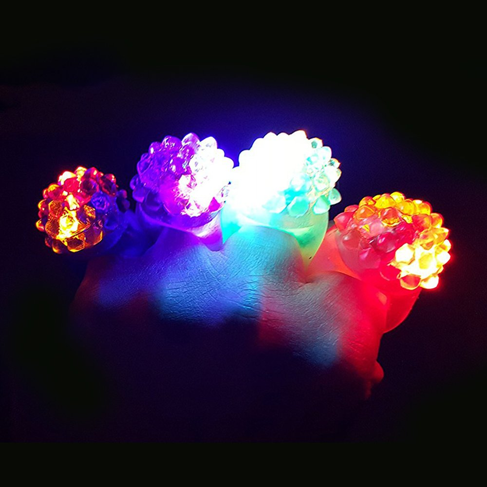 Novelty Place Party Stars Flashing LED Bumpy Jelly Ring Light-Up Toys (24 Pack) by Novelty Place (Image #3)