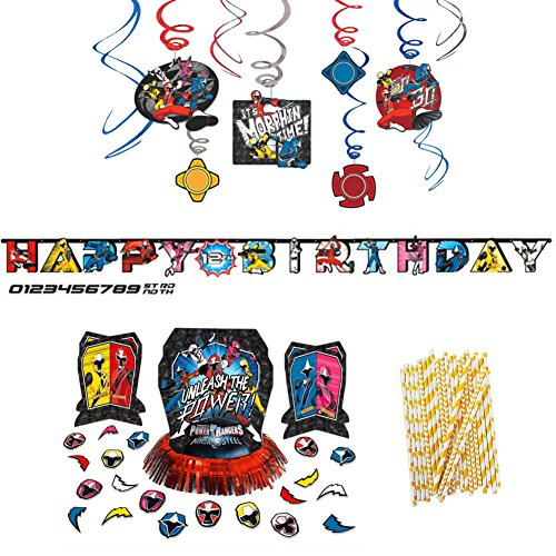 Power Rangers Ninja Steel Birthday Decorations Party Supplies Pack | Paper Straws, Hanging Swirls, Table Decorating Kit With Centerpieces, Confetti, and Jumbo Happy Birthday Add-an-Age Banner -
