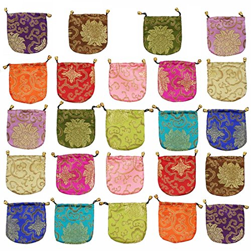 kilofly Chinese Silk Brocade Drawstring Jewelry Pouch Bag Value Set, 24 pcs - Party Favor Gift Bags Purses