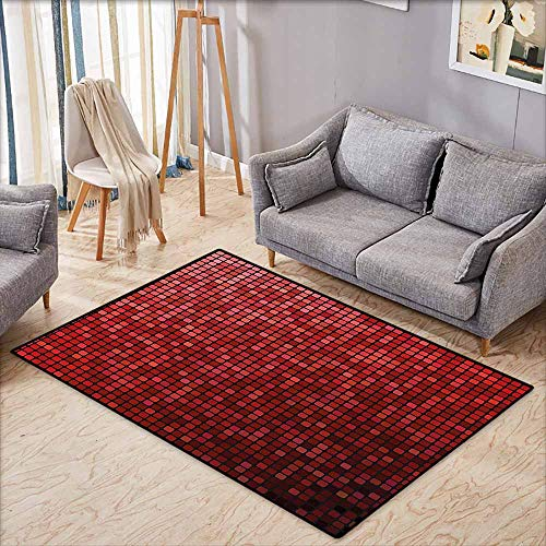 (Outdoor Patio Rug,Maroon,Abstract Mosaic Grid Ombre Pattern Pixels Digital Technology Themed Tile,Anti-Slip Doormat Footpad Machine Washable,4'11