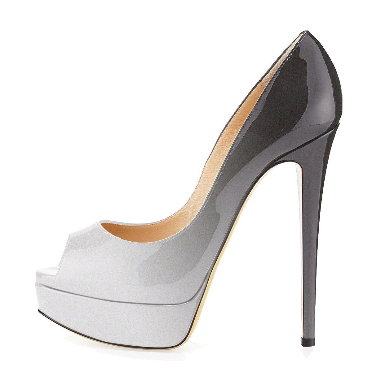 uBeauty Zapatillas Plataforma Mujer Zapatos de Tacon Tallas Grandes Sandalias Sin Cordones 39.5 EU Gris-coloreado