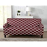 Strapless Stretch Printed Slipcover Couch Cover, Stain and Spill Resistant. Tori Collection by Great Bay Home (Sofa - Burgundy)
