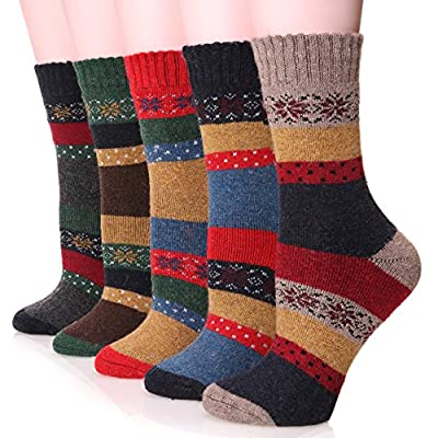 EBMORE Women Fashion Casual Snowflake Warm Crew Wool Cotton Winter Socks 5 Pack