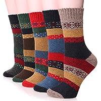 EBMORE paquete de 5 pares de calcetines cálidos de algodón para invierno con copo de nieve de moda para mujer