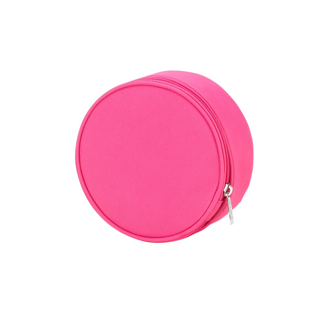 Hot Pink 6 x 3 Round Polyester Zippered Jewelry Case