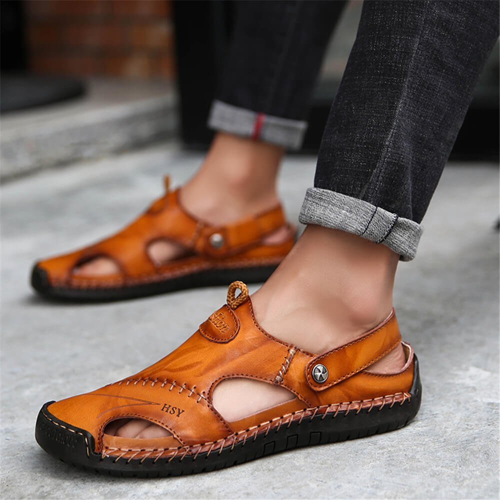 Mens Hand Stitching Soft Outdoor Closed Toe Leather Sandals