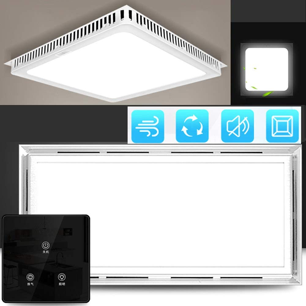 Multifuncional silenciosa Ventilador de ventilación, 220v Rectangular ventilador de conducto, Ventilador Extractor de baño/cocina, Ventilación iluminación,touch-switch-rectangle