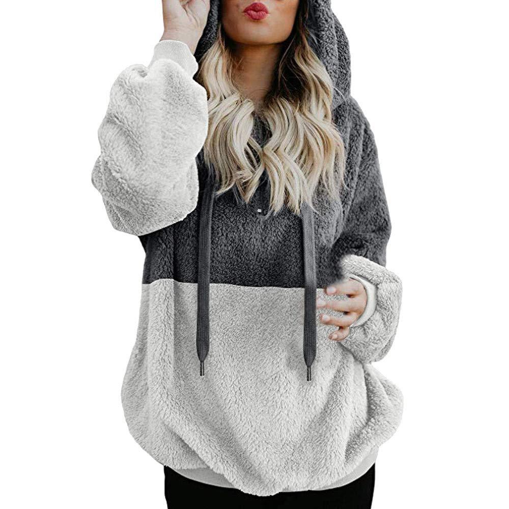 Spbamboo Womens Tops Pullover Hooded Sweatshirt Warm Zipper Pocket Blouse Shirts