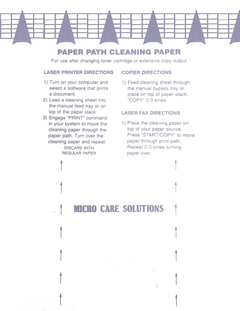 Microcare Laser Printer Cleaning Sheet (8.5 x 11'') 20 Sheets