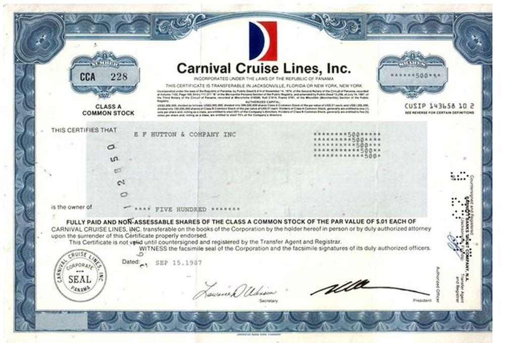 1989 Rare Original Vintage Carnival Cruise Share Certificate In Xlnt