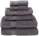 Superior Zero Twist 100% Cotton Bathroom Towels, Super Soft, Fluffy, and Absorbent, Premium Quality 6 Piece Towel Set with 2 Washcloths, 2 Hand Towels, and 2 Bath Towels - Grey