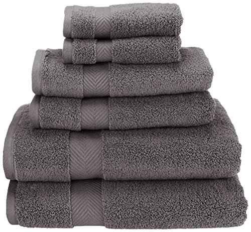 Superior Zero Twist 100% Cotton Bathroom Towels, Super Soft, Fluffy, and Absorbent, Premium Quality 6 Piece Towel Set with 2 Washcloths, 2 Hand Towels, and 2 Bath Towels - Grey by Superior