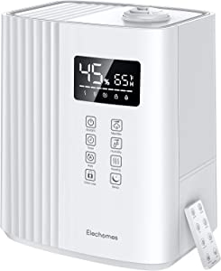 Elechomes SH8830 Warm and Cool Mist Humidifiers, 6.5 Liter Top Fill Humidifier for Large Room, Bedroom, Baby Room and Plants, Auto Mode & Ultra-Quiet Sleep Mode, Remote Control, Adjustable Mist, White