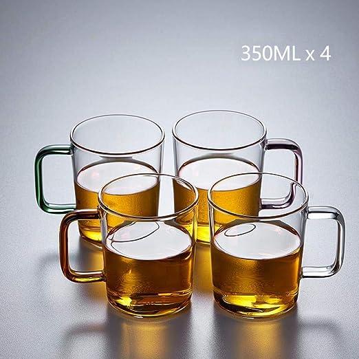 zhouhongchao Vaso de Vidrio Transparente Resistente al Calor con Vaso de Agua Leche Taza de té de Gran Capacidad Jarra de Cerveza, Haitian Cup 4 Pack 350ML [Color Mezclado]: Amazon.es: Hogar