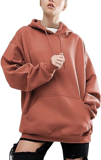 Mujer Sudaderas Con Capucha Deportivas Anchas Tallas Grandes Sweatshirts Invierno Otono Chica Elegantes Manga Larga Con Bolsillo Color Solido Hoodies Casual Hipster Basicas Sudadera Pullover Amazon Es Ropa Y Accesorios