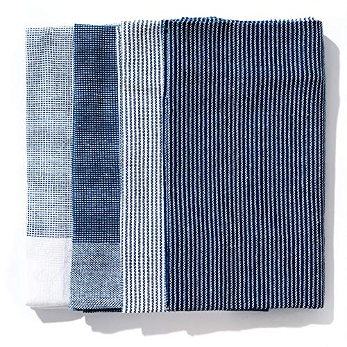 Blue Dish Towel - Caldo Kitchen Dish Towel, Set of 4, 100% Cotton, 28 in x 20 in (Navy)