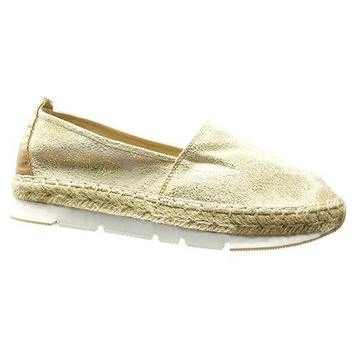 Angkorly - Zapatillas Moda Alpargatas Mocasines Bimaterial Suela de Zapatillas Mujer Brillantes Cuerda Trenzado tacón Plano 3 CM: Amazon.es: Zapatos y ...