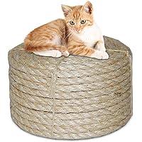AUOKER 100% Natural Sisal Fiber Rope 1/4-Inch (6mm) Diameter X 65-Feet (20 M), Cat Scratching Post Sisal Rope, All Types…